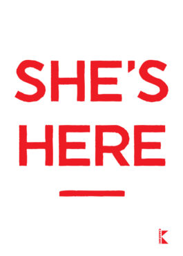 She's Here – book cover poster
